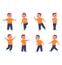Boy expressions cartoon little kid character vector