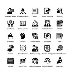 Business and finance glyph icons set 8 vector