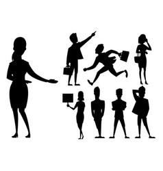 business people man and woman black silhouette vector image