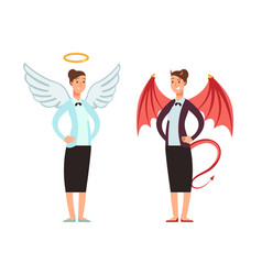 Businesswoman in angel and devil suit good and vector
