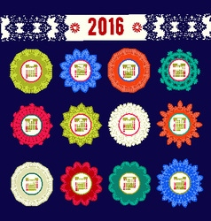 Calendar 2016 with decorative round elements vector