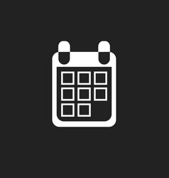 Calendar icon on black background flat style vector