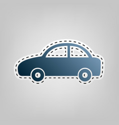 car sign blue icon with vector image
