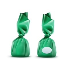 Chocolate Candy in Green Glossy Wrapper vector image