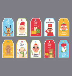 christmas and new year winter holidays gift tags vector image