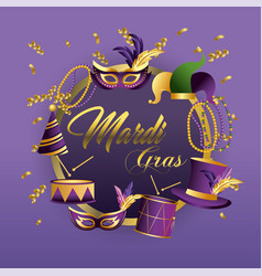 circle merdi gras emblem with masks and drums vector image