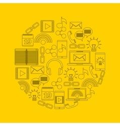 Circle of icon set Social media design vector