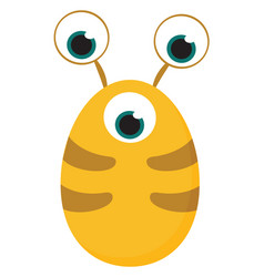 Clipart yellow-colored monster with three vector