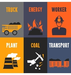 Coal industry mini posters vector