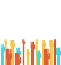 Colorful hands raising vector