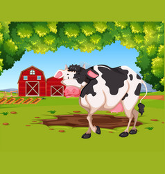 Cow in farm scene vector