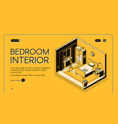 Cozy bedroom interior isometric website vector