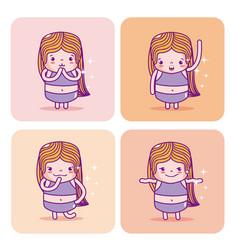 Cute girl emojis vector