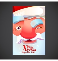 Cute Santa face poster vector