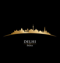 delhi india city skyline silhouette black vector image