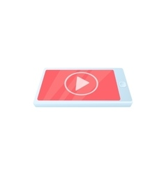 Digital tablet with media player icon vector image