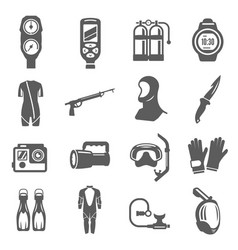 diving equipment bold black silhouette icons set vector image