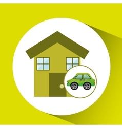 eco car house icon environment vector image