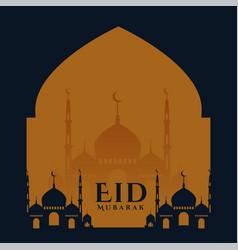 Eid festival wishes card design islamic background vector