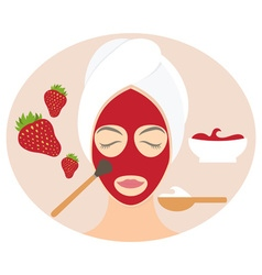 Flat design woman in natural mask of yogurt egg vector