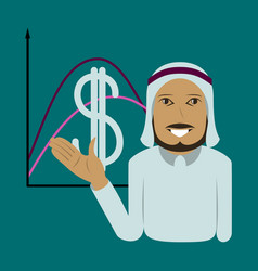 Flat icon on theme arabic business muslim vector