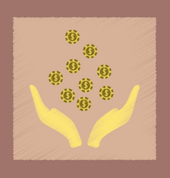 Flat shading style icon coins in hand vector