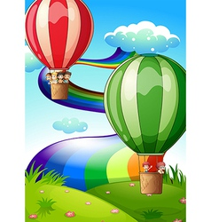 Floating balloons with kids vector