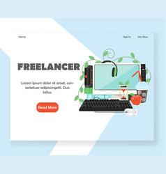 freelancer website landing page design vector image