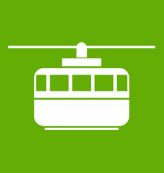 funicular icon green vector image