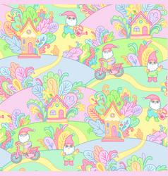garden gnomes pattern vector image