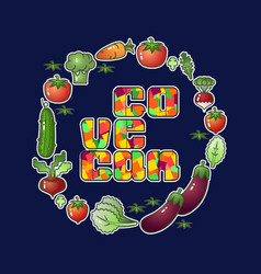 Go vegan vegetables isolated on blue vector