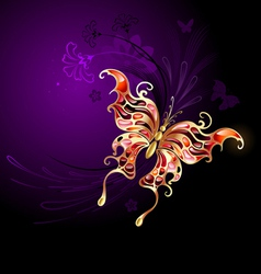 Gold butterfly on a purple background vector