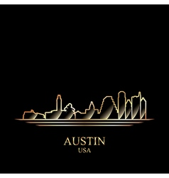 Gold silhouette of Austin on black background vector