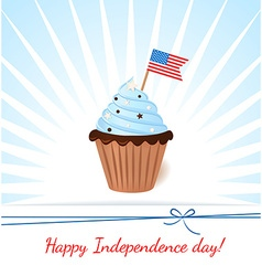 Greeting card with flag American patriotic cupcake vector image