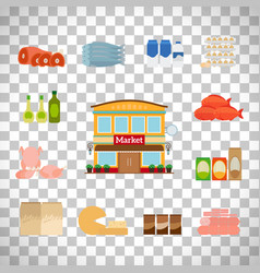 Grocery icons set on transparent background vector