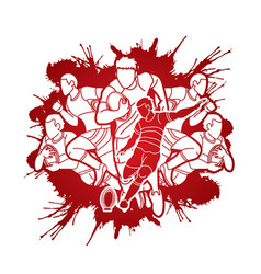 Group rugplayers action cartoon sport vector