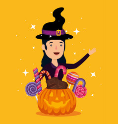 halloween card with pumpkin and witch character vector image