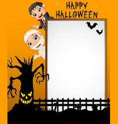 halloween sign with little mummy and little boy dr vector image
