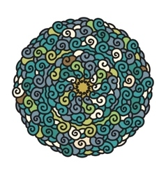 Hand drawn colorful Mandala in cold colors vector image