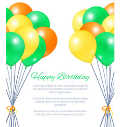 happy birthday postcard balloons bundles for party vector image