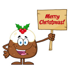 happy christmas pudding character vector image