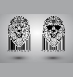 head lion from triangles vector image