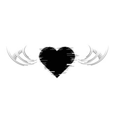 heart angel wings icon isolated vector image