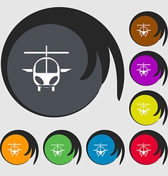 Helicopter icon sign Symbols on eight colored vector