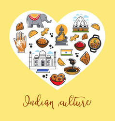 indian culture promo poster with country symbols vector image