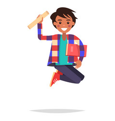 jumping indian boy student with book and bundle vector image