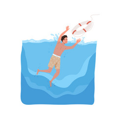 Kid sinking in sea catching lifebuoy with hands vector
