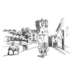 La torre del clavero military fortress vintage vector