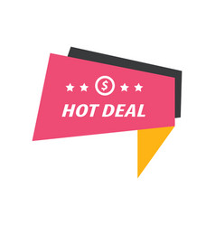 Label hot deal pink yellow black vector