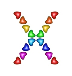 Letter X made of multicolored hearts vector image